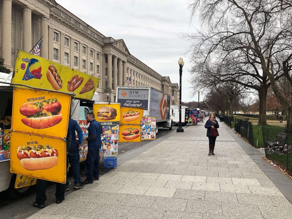 PHOTO: Kim Tran, who has run a food truck outside different Washington tourist attractions for around 20 years, said business is slow because the Smithsonian museums are closed, even for the winter months when vendors usually see less customers.