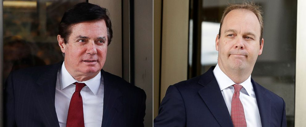 PHOTO: Pictured (L-R) in this combination photo are Paul Manafort and Rick Gates, Nov. 6, 2017, in Washington, D.C.