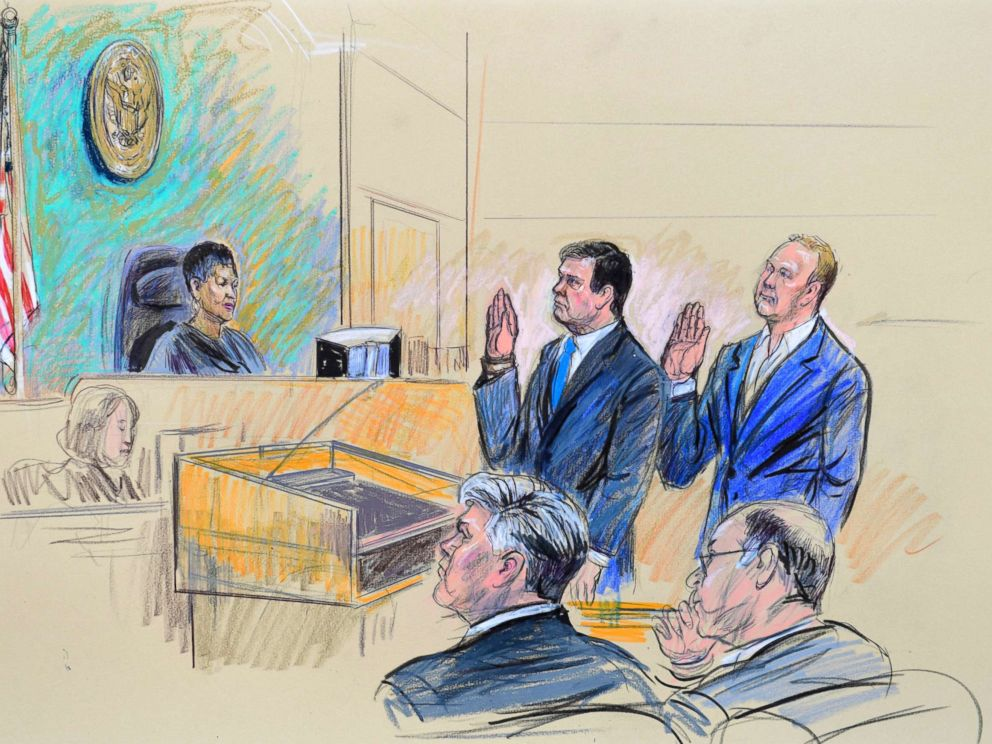 PHOTO: A court artist drawing shows President Trumps former campaign chairman, Paul Manafort, center standing and Manaforts business associate, Rick Gates, in federal court in Washington, Oct. 30, 2017, before U.S. Magistrate Judge Deborah A. Robinson.