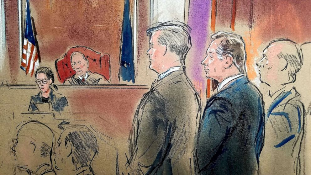 President Donald Trump's former campaign chairman Paul Manafort stands before Judge T.S. Ellis as he was found guilty of eight of the 18 charges he faced in a case of bank and tax fraud at U.S. District Courthouse in Alexandria, Va., Aug. 21, 2018.