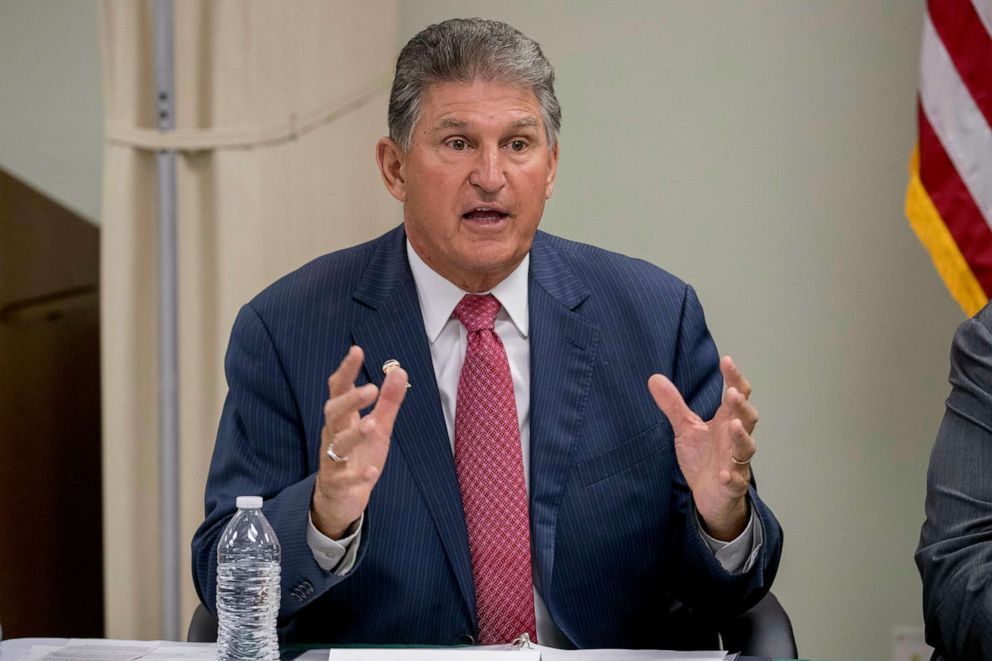 PHOTO: In this July 8, 2019, file photo, Sen. Joe Manchin, speaks at a roundtable on the opioid epidemic at Cabell-Huntington Health Center in Huntington, W.Va.