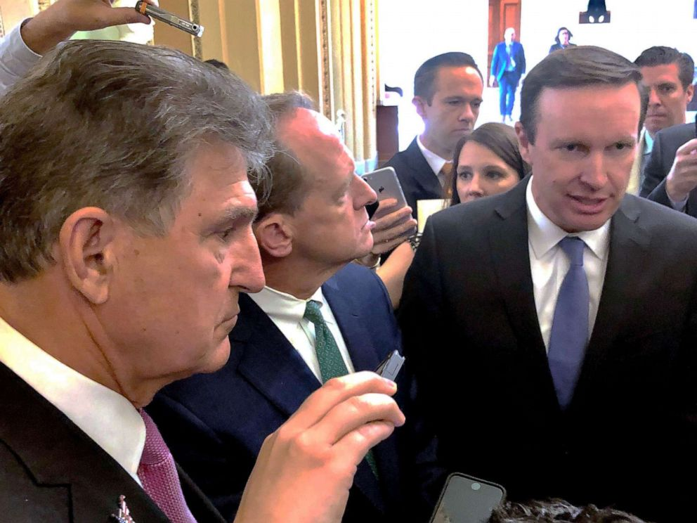 PHOTO: Senators Joe Manchin, Pat Toomey, and Chris Murphy spoke to President Trump on the phone about gun control.