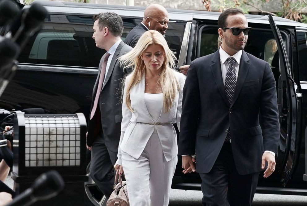 PHOTO: File photo of former Trump Campaign aide George Papadopoulos arriving with his wife Simona Mangiante at the U.S. District Court for his sentencing hearing, Sept. 7, 2018 in Washington.