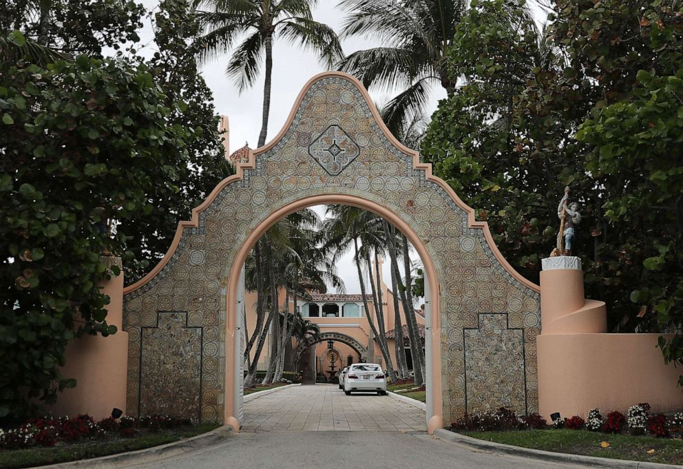 An entranceway to President Donald Trump's Mar-a Lago resort is seen