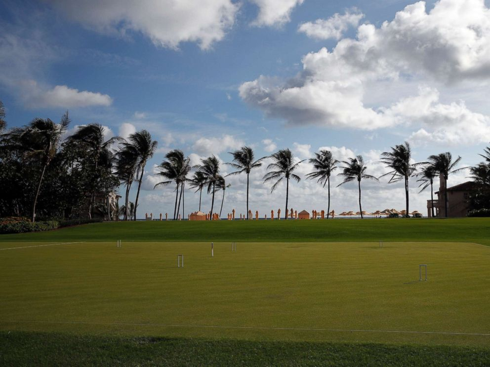 PHOTO: The palm trees, beach, and a croquet set are seen at President Donald Trumps private club Mar-a-Lago, on Thanksgiving, Nov. 23, 2017, in Palm Beach, Fla.