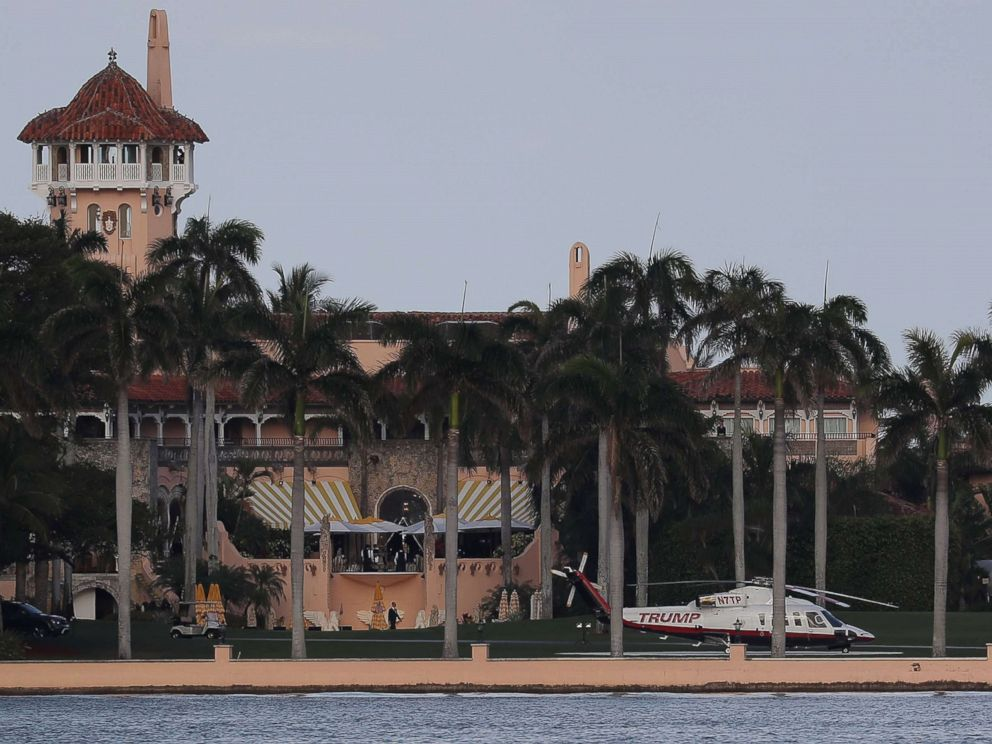 PHOTO: The Trump helicopter is seen at the Mar-a-Lago Resort where President Donald Trump yesterday held meetings with Chinese President Xi Jinping, April 8, 2017, in Palm Beach, Fla.