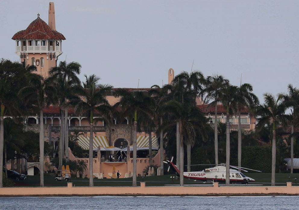 PHOTO: The Trump helicopter is seen at the Mar-a-Lago Resort, April 8, 2017, in Palm Beach, Fla.