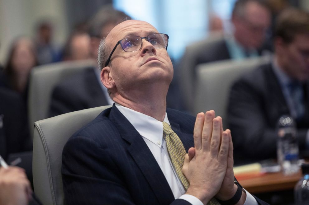 PHOTO: Marc Elias, an attorney for Democratic congressional candidate Dan McCready, questions a witness during the third day of a public evidentiary hearing, Feb. 20, 2019, in Raleigh, N.C.