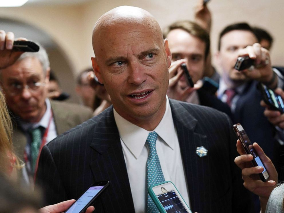 PHOTO: White House Director of Legislative Affairs Marc Short speaks to members of the media as he leaves a Republican conference meeting on Capitol Hill in Washington, D.C., June 7, 2018.