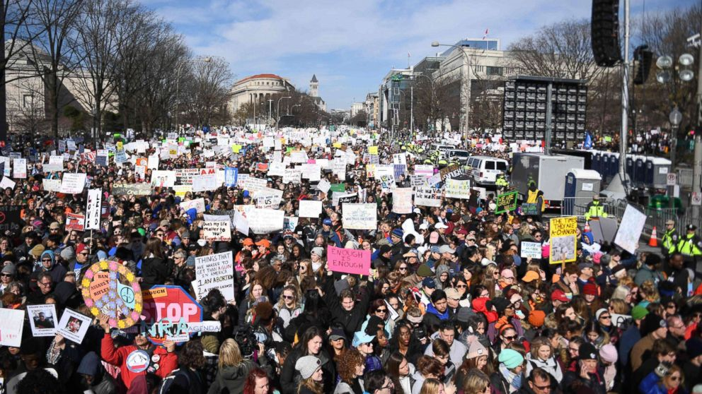 Participants arrive for the March for Our Lives Rally in Washington, DC on March 24, 2018.