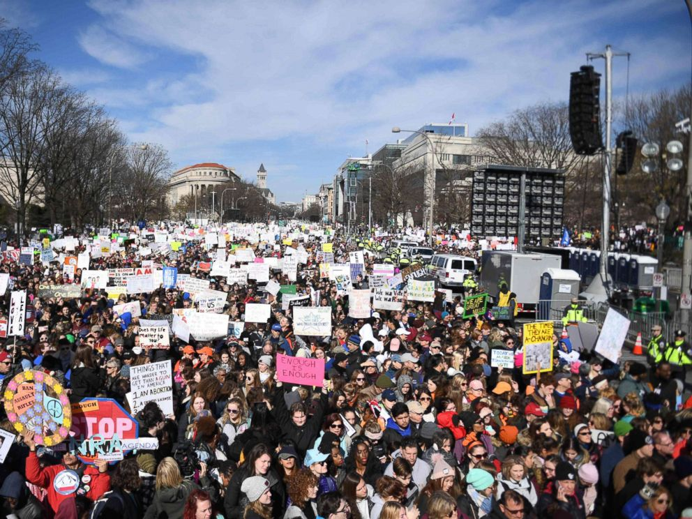 PHOTO: Participants arrive for the March for Our Lives Rally in Washington, DC on March 24, 2018.