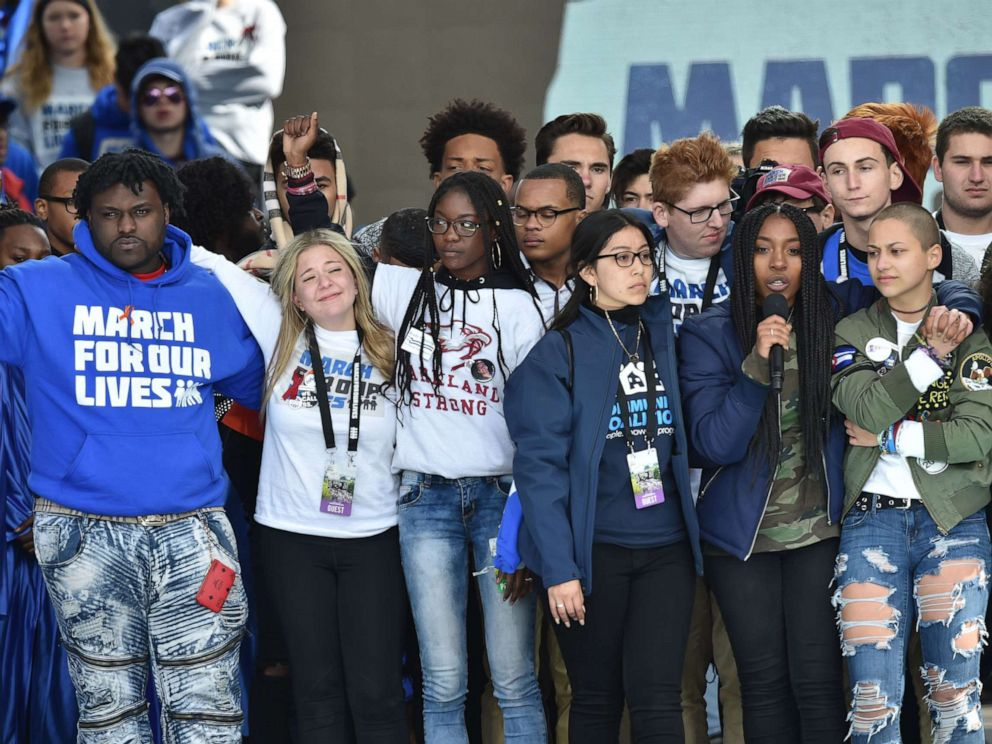 PHOTO: Marjory Stoneman Douglas High School students along with other students gather on stage during the March for Our Lives Rally in Washington, D.C., March 24, 2018.