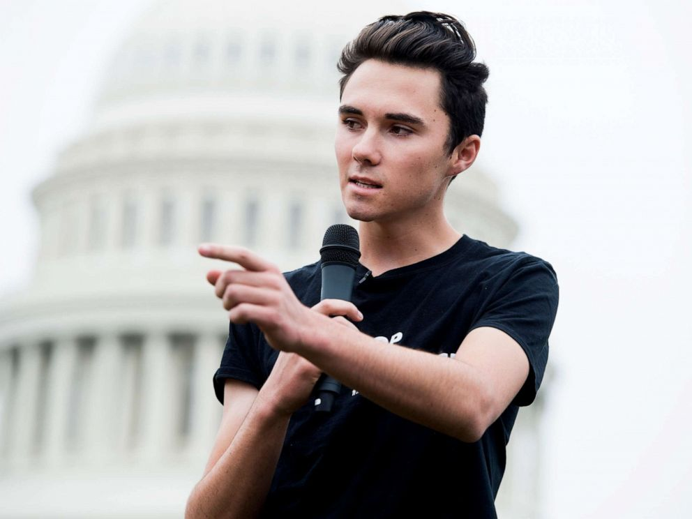 PHOTO: David Hogg, a survivor of the Marjory Stoneman Douglas High School shooting in Parkland, Fla., speaks on the East Front of the Capitol during a rally, March 25, 2019, Washington, D.C.