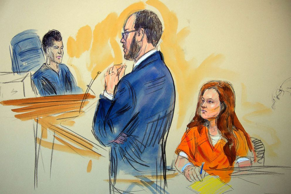 PHOTO: This courtroom sketch depicts Maria Butina listening to Assistant U.S. Attorney Erik Kenerson as he speaks to Judge Deborah Robinson, left, during a hearing in federal court in Washington, July 18, 2018.