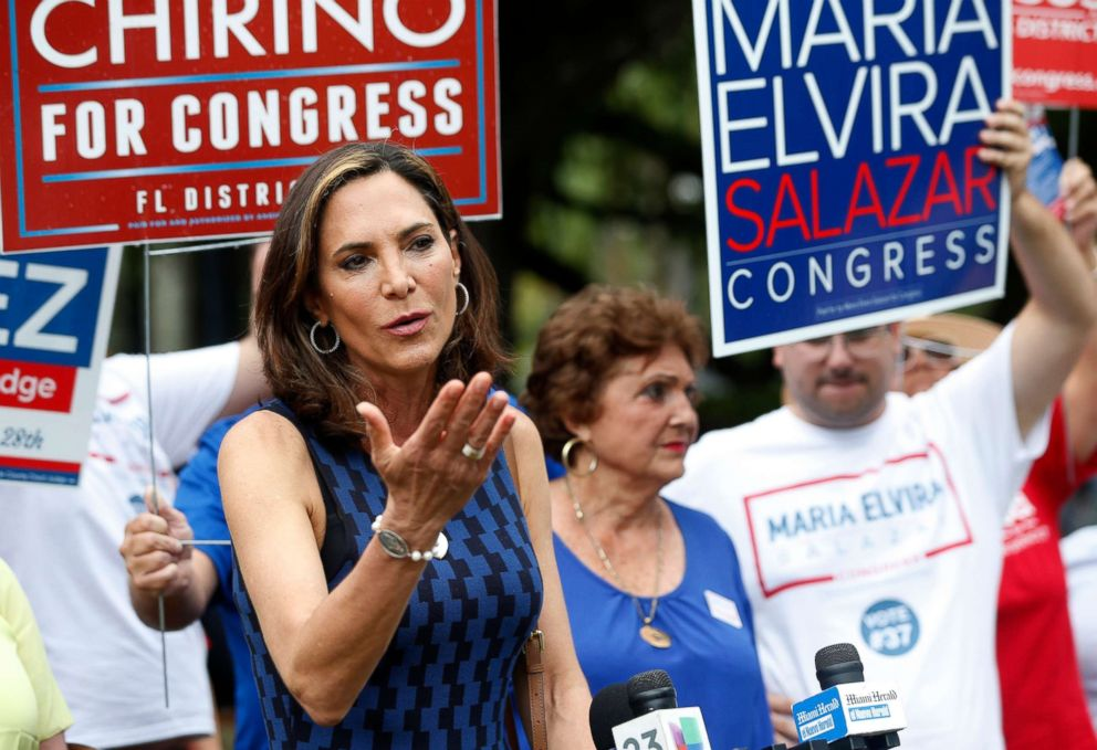 PHOTO: Maria Elvira Salazar, running for retiring Rep. Ileana Ros-Lehtinens seat, speaks with members of the media outside a polling station at a library, during the Florida primary election, Aug. 28, 2018, in Coral Gables, Fla.