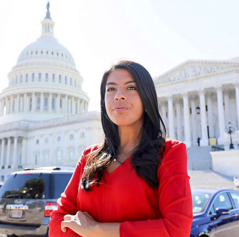 Maria Praeli in front of the U.S. Capitol in Washington, D.C.