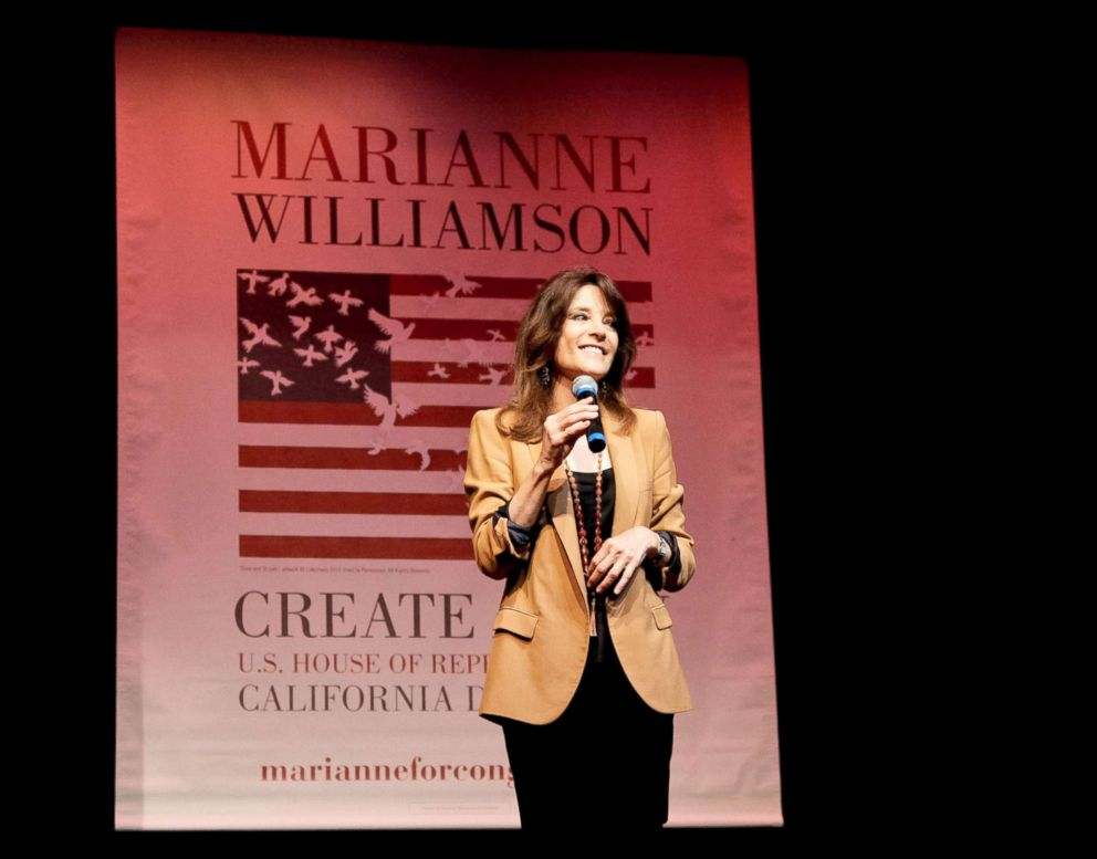 PHOTO: Marianne Williamson speaks at her election rally, June 2, 2014, in Santa Monica, California.