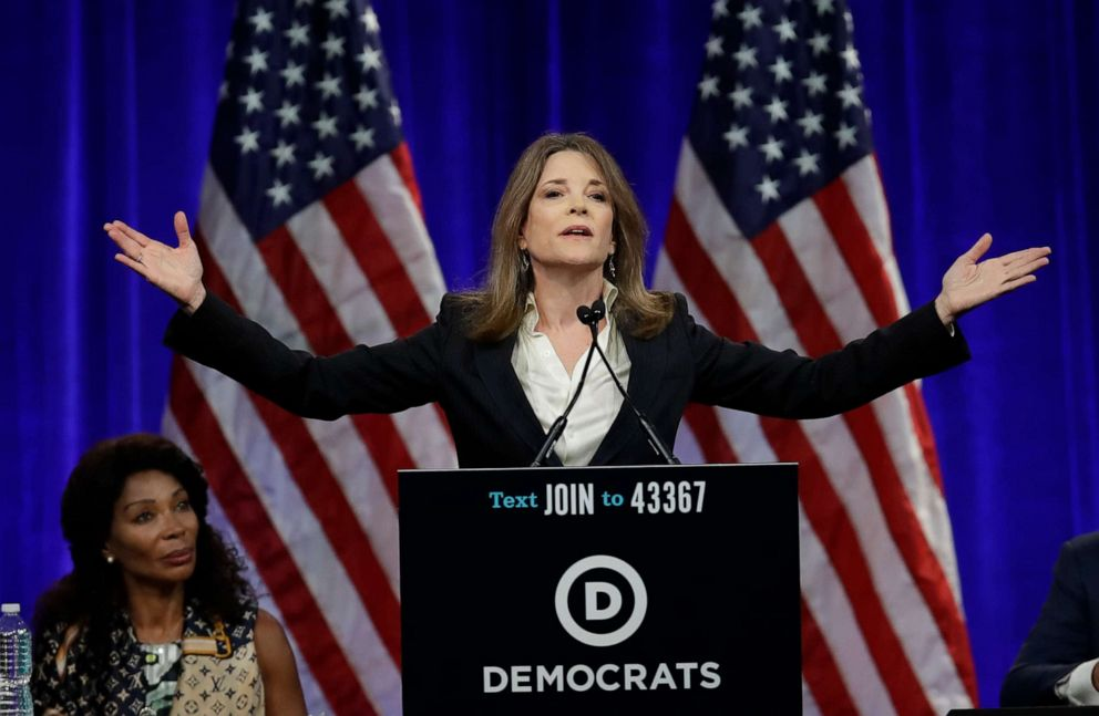 PHOTO: Marianne Williamson, 2020 Democratic presidential hopeful, gestures while speaking at the Democratic National Committees summer meeting, Aug. 23, 2019, in San Francisco.