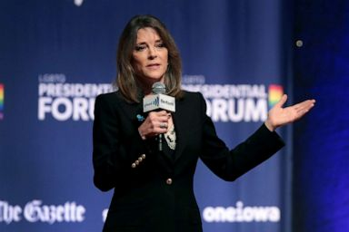 PHOTO: Democratic presidential candidate and self-help author Marianne Williamson speaks at a LGBTQ presidential forum at Coe Colleges Sinclair Auditorium, Sept. 20, 2019, in Cedar Rapids, Iowa.
