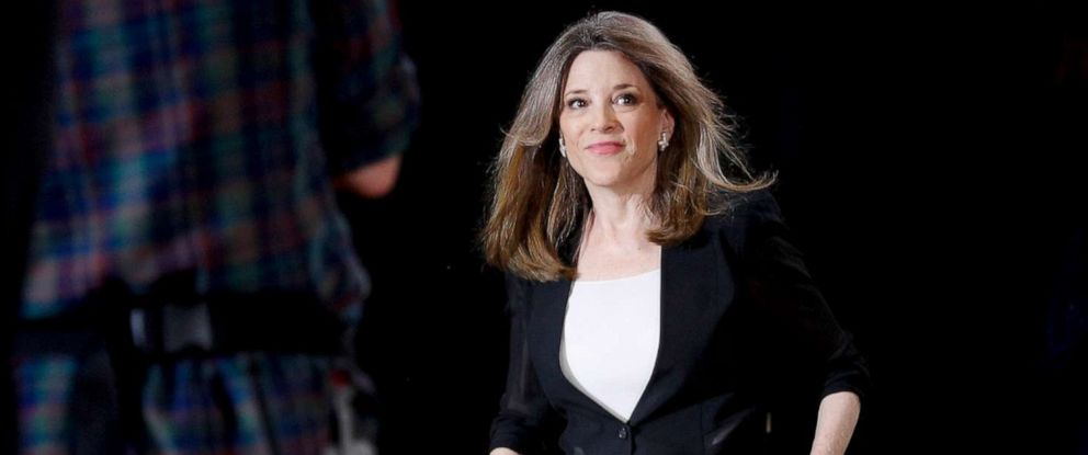 PHOTO: Marianne Williamson, a Democratic presidential hopeful, takes the stage to speak at the Poor Peoples Moral Action Congress presidential forum at Trinity Washington University in Washington, June 17, 2019.