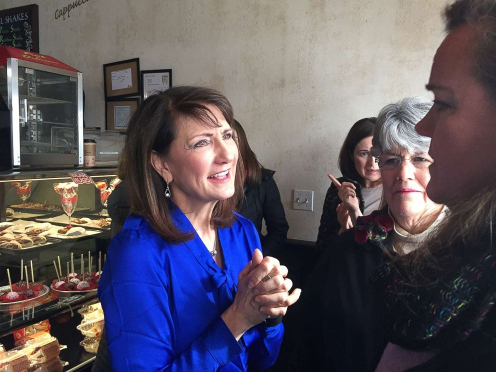 PHOTO: Democratic candidate for the 3rd congressional district Marie Newman speaks with supporters at a campaign event in LaGrange, Ill, Feb. 13, 2018.