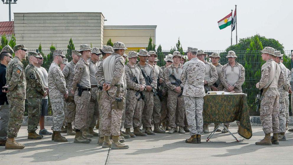 Gen. Joseph Dunford Jr., chairman of the Joint Chiefs of Staff, speaks to Marines in Erbil, Iraq, Nov. 10, 2016.