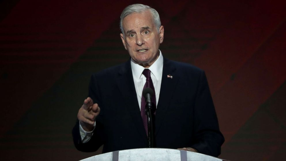 Minnesota Governor Mark Dayton delivers remarks on the fourth day of the Democratic National Convention at the Wells Fargo Center, July 28, 2016, in Philadelphia.