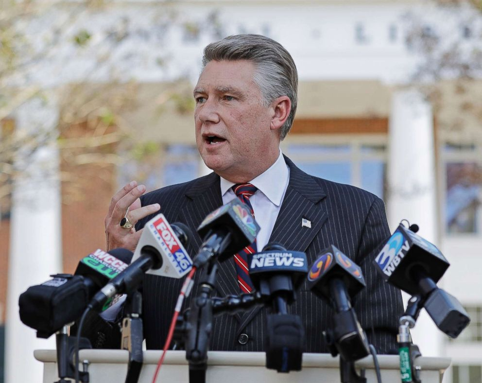 In this Nov. 7, 2018, file photo Mark Harris speaks to the media during a news conference in Matthews, N.C.