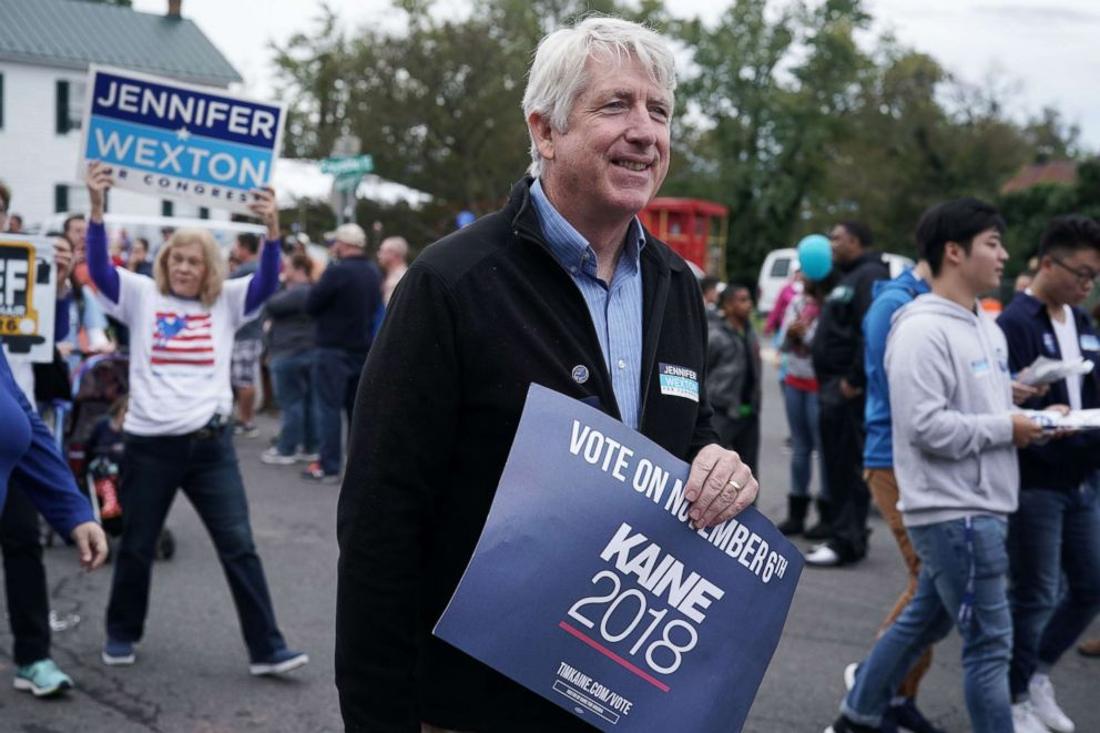 PHOTO: Virginia State Attorney General Mark Herring participates in the annual Haymarket Day parade, Oct. 20, 2018, in Haymarket, Va.