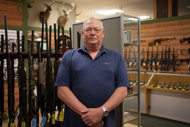 PHOTO: Mark Highsmith, owner of Highsmith Guns in Greenfield, Ind., poses for a photo on April 25, 2019.