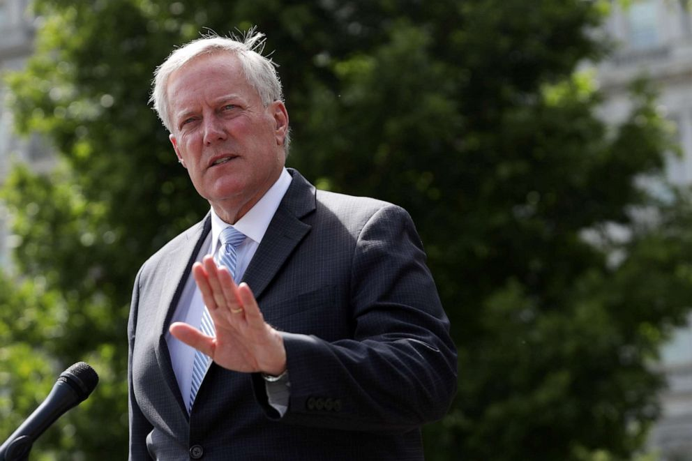 PHOTO: White House Chief of Staff Mark Meadows speaks to members of the press outside the West Wing of the White House on Aug. 28, 2020, in Washington, DC.