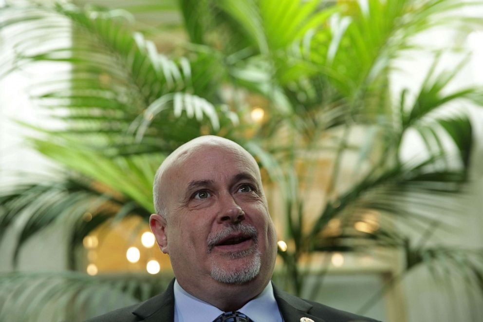 PHOTO: Rep. Mark Pocan speaks to members of the media after a House Democrats meeting at the Capitol, May 22, 2019, in Washington.