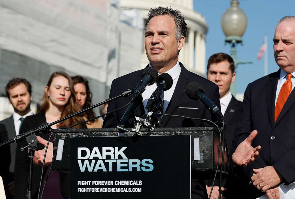 PHOTO: Actor and activist Mark Ruffalo speaks at the Fight Forever Chemicals Campaign kick off event on Capitol Hill in Washington, Nov. 19, 2019.
