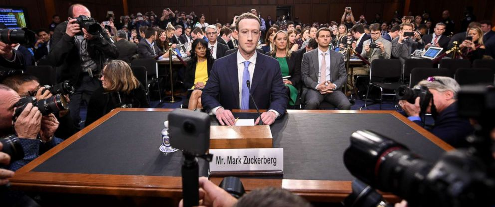 PHOTO: Facebook CEO Mark Zuckerberg arrives to testify before a joint hearing of the US Senate Commerce, Science and Transportation Committee and Senate Judiciary Committee on Capitol Hill, April 10, 2018 in Washington.