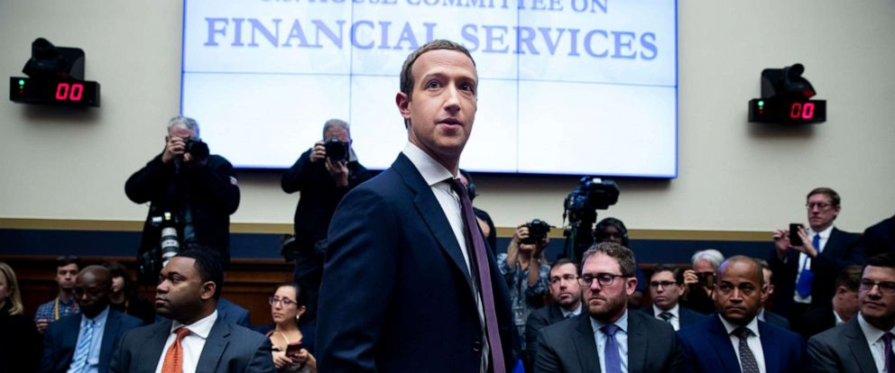 PHOTO: CEO of Facebook Mark Zuckerberg arrives to testify before a House Financial Services Committee hearing on Capitol Hill in Washington, Oct. 23, 2019.
