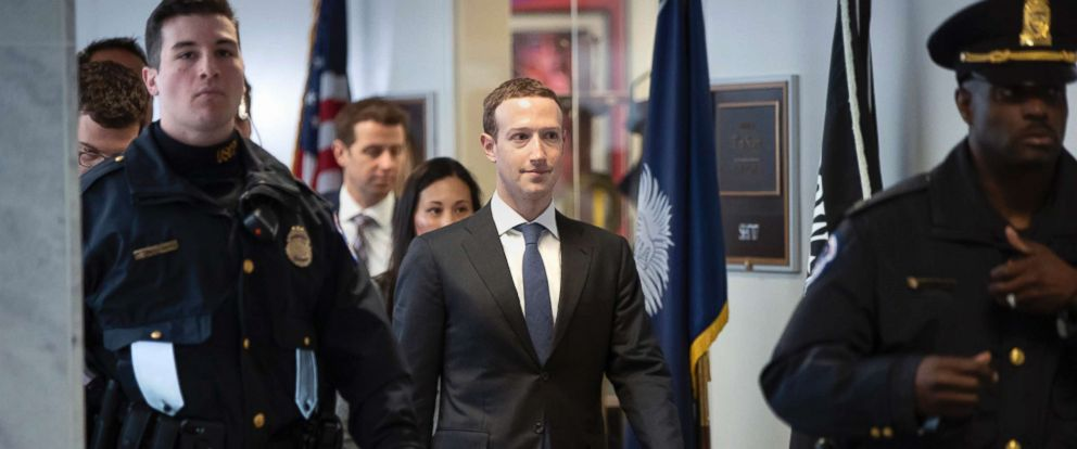 PHOTO: Facebook CEO Mark Zuckerberg leaves a meeting with Sen. Bill Nelson, the ranking member of the Senate Commerce Committee, on Capitol Hill in Washington, D.C. April 9, 2018.