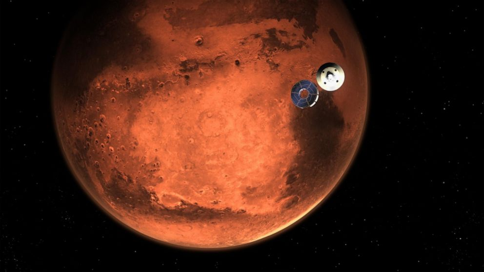PHOTO: This illustration shows NASA's Perseverance rover casting off its spacecraft's cruise stage, minutes before entering the Martian atmosphere, Feb. 18, 2021.