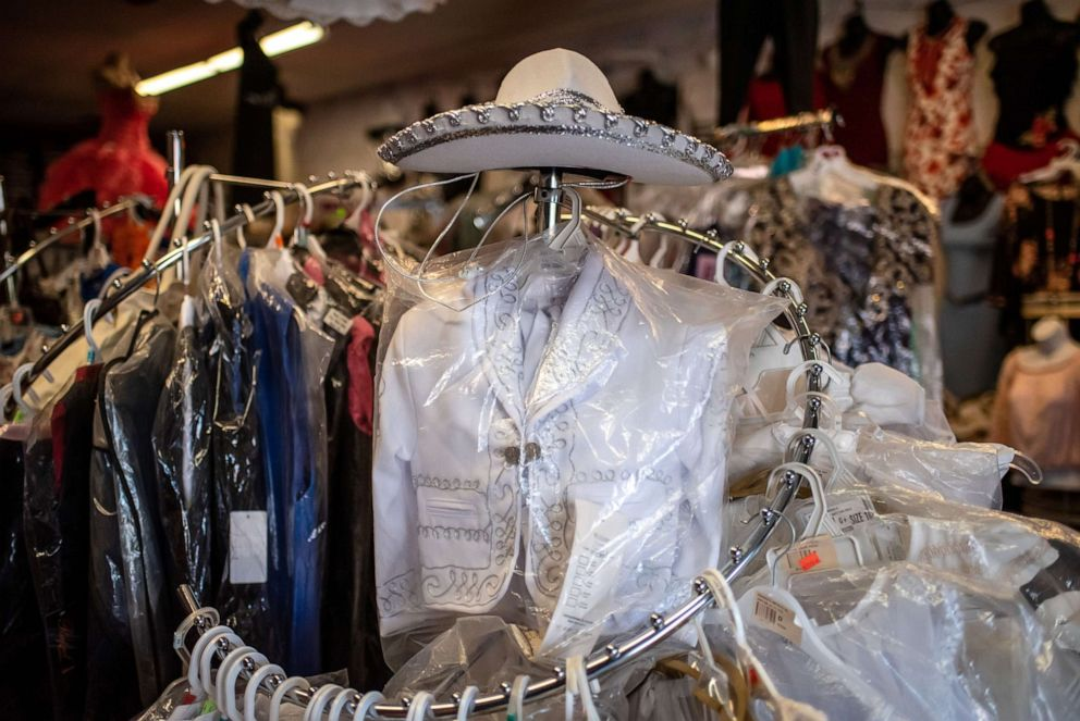 PHOTO: A mariachi outfit for a boy sits on display at Novedades Islas Fashion in Marshalltown, Iowa on Aug. 7, 2019.
