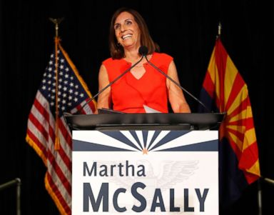 PHOTO: Rep. Martha McSally, a senatorial candidate, celebrates her primary election victory, Aug. 28, 2018, in Tempe, Ariz.