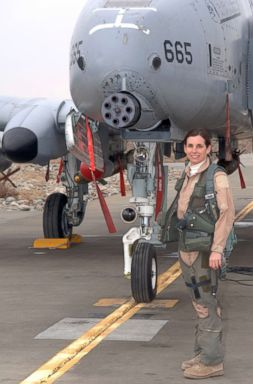 PHOTO: Lt. Col. Martha McSally stands with her A-10 Thunderbolt II aircraft in this undated file photo.
