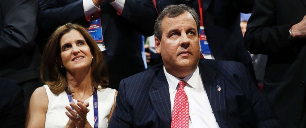 PHOTO: New Jersey Governor Chris Christie sits with his wife Mary Pat Christie during the Republican National Convention (RNC) in Cleveland, July 19, 2016.