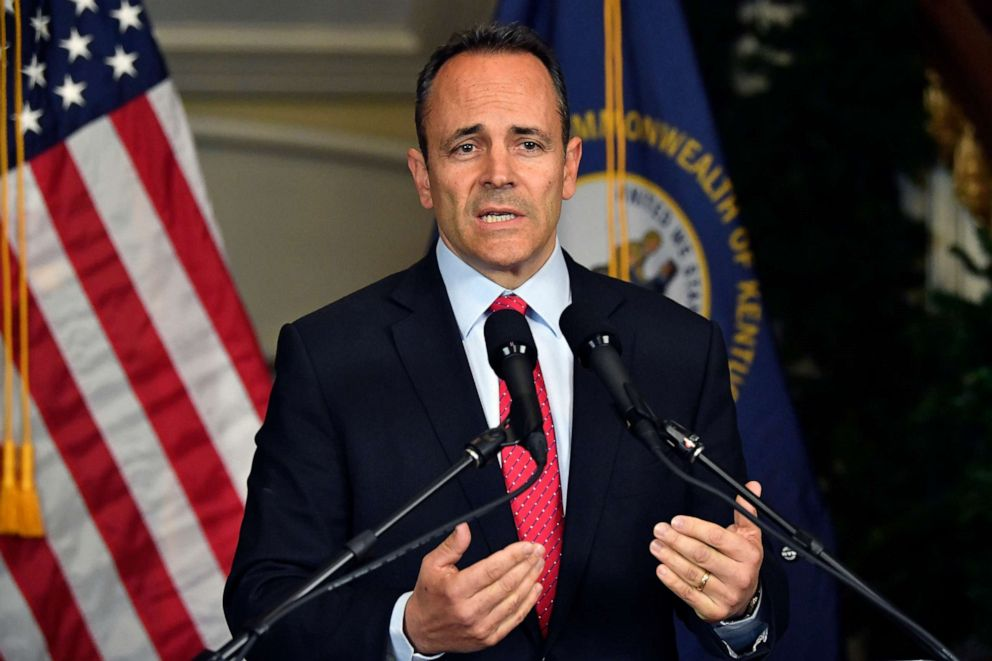 PHOTO: Kentucky Governor Matt Bevin announces his intent to call for a recanvass of the voting results from the gubernatorial elections during a press conference at the Governors Mansion in Frankfort, Ky., Nov. 6, 2019.