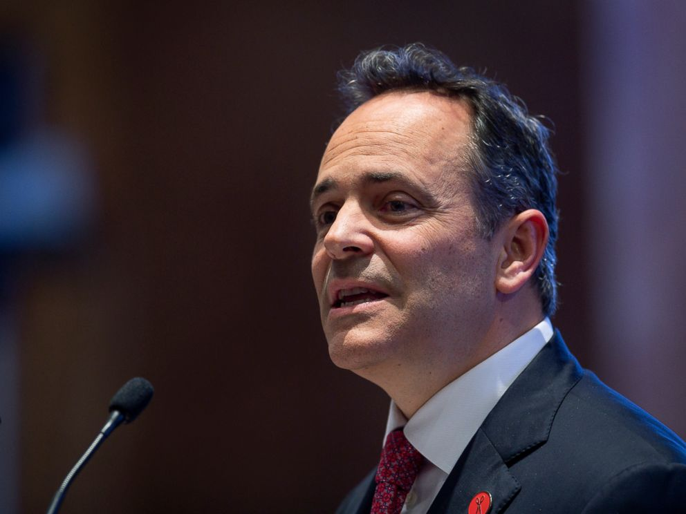 PHOTO: This Feb. 7, 2019, file photo shows Kentucky Gov. Matt Bevin delivering the State of the Commonwealth address to a joint session of the state legislature at the state Capitol in Frankfort, Ky.