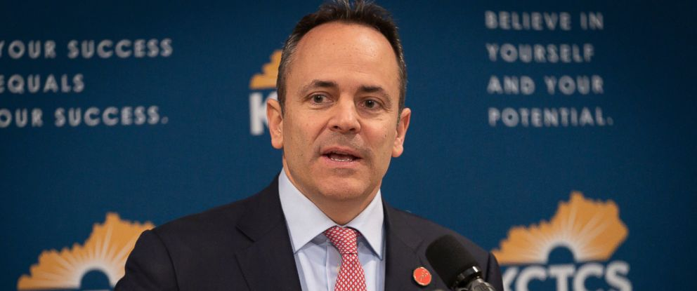 PHOTO: In this Feb 28, 2019, file photo, Kentucky Gov. Matt Bevin speaks in the Capitol building in Frankfort, Ky.