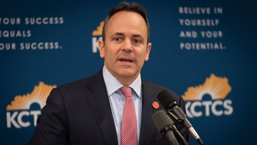 In this Feb 28, 2019, file photo, Kentucky Gov. Matt Bevin speaks in the Capitol building in Frankfort, Ky.