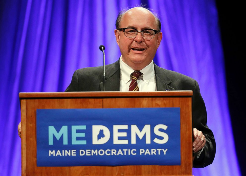 Maine Secretary of State Matthew Dunlap addresses the Democratic Convention, in Lewiston, Maine, May 18, 2018.