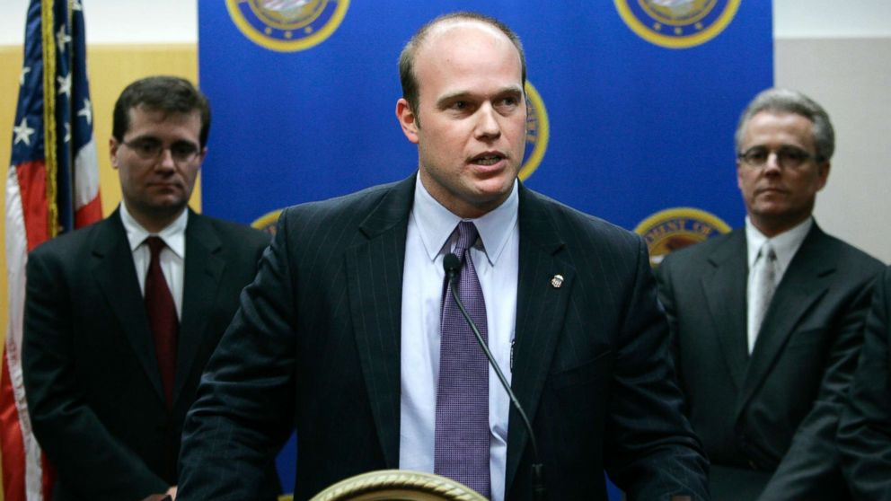U.S. Attorney Matthew Whitaker speaks during a news conference, Jan. 16, 2007, in Des Moines, Iowa.