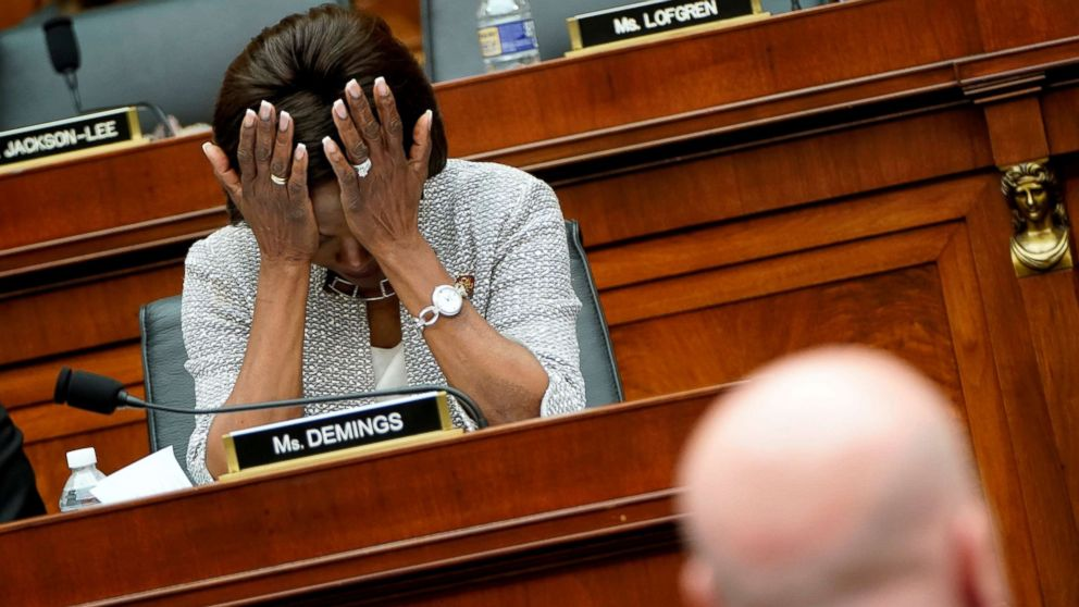 Rep. Val Demings reacts to testimony from Acting U.S. Attorney General Matthew Whitaker as he testifies to the House Judiciary Committee on oversight of the Justice Department on Capitol Hill in Washington, Feb. 8, 2019.