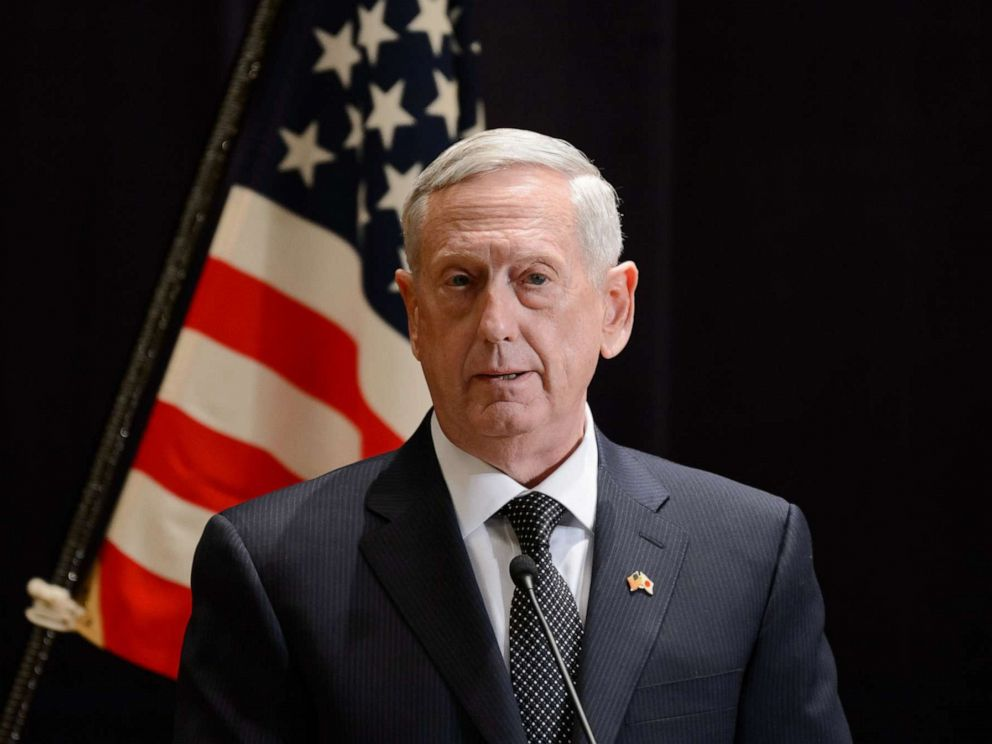PHOTO: General James Mattis, U.S. secretary of defense, speaks during a news conference with Tomomi Inada, Japans defense minister, not pictured, in Tokyo, Japan, on Saturday, Feb. 4, 2017.