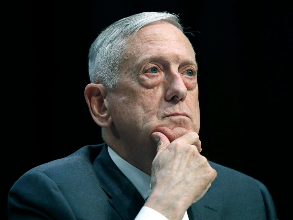 Defense Secretary Jim Mattis listens to a question during a hearing on Capitol Hill